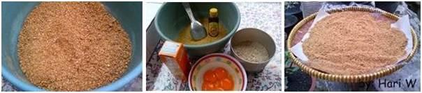 Mencampurkan telur dan madu kedalam adonan kemudian menjemur hingga kering dengan cara diangin-anginkan