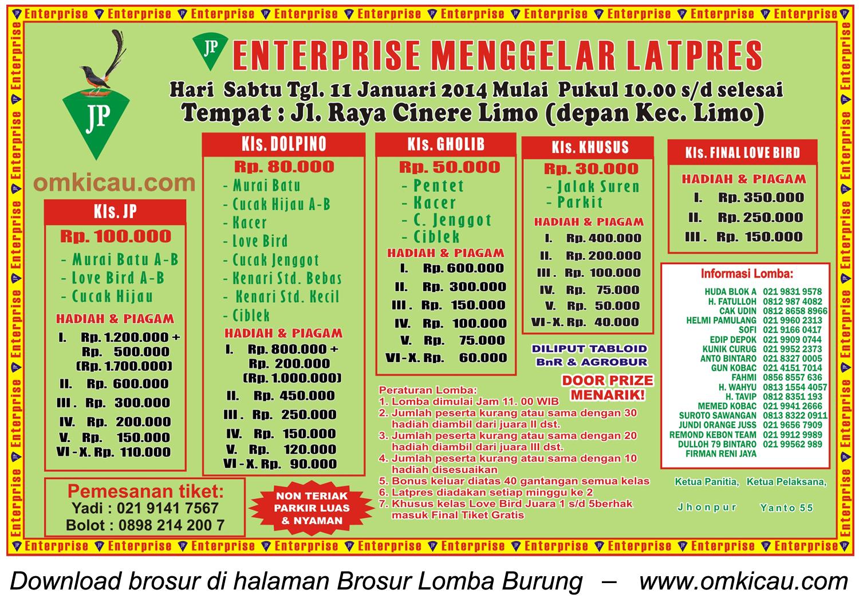 Brosur Latpres Burung Berkicau JP Enterprise, Depok, 11 Januari 2014