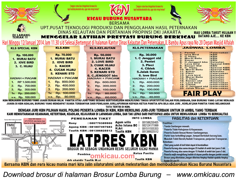Brosur Latpres Kicau Burung Nusantara (KBN), Jakarta, 12 Januari 2014