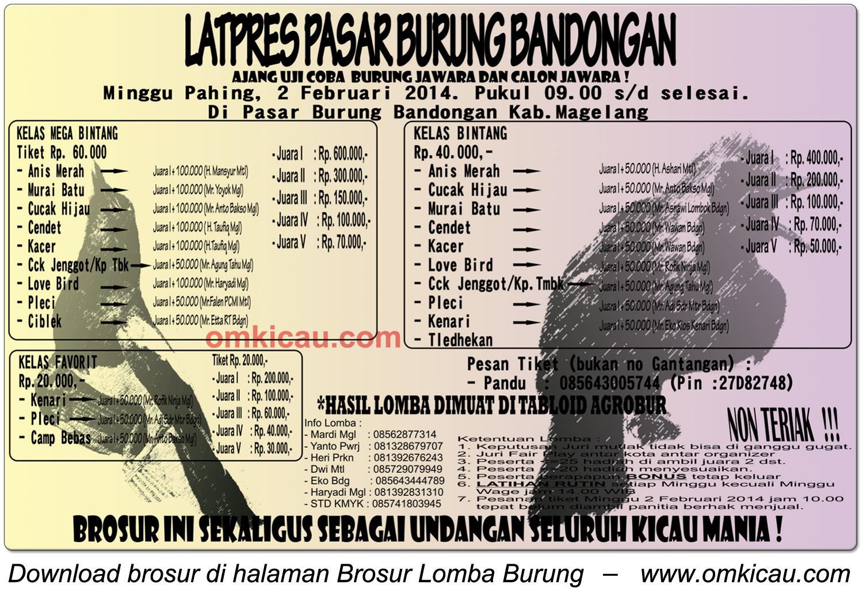 Brosur Latpres Pasar Burung Bandongan, Magelang, 2 Februari 2014