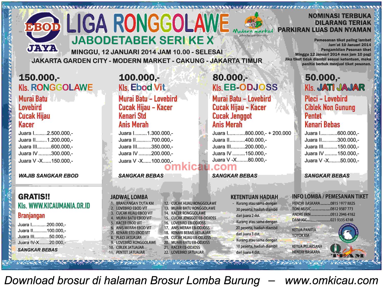 Brosur Liga Ronggolawe Jabodetabek Seri X, Jakarta Timur, 12 Januari 2014