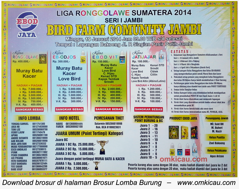 Brosur Lomba Bird Farm Comunity Jambi, 19 Januari 2014