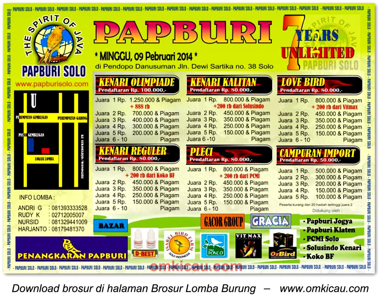 Brosur Lomba Burung 7 Years Unlimited Papburi, Solo, 9 Februari 2014