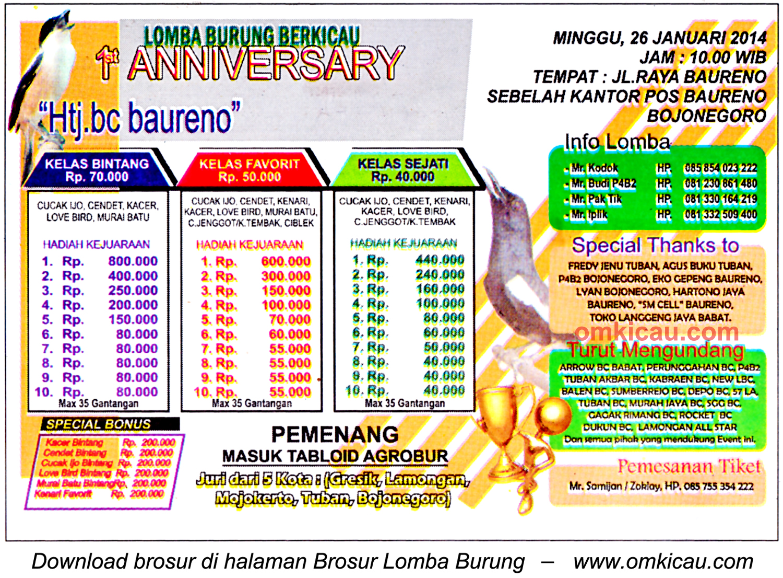 Brosur Lomba Burung Berkicau 1st Anniversary HTJ BC Baureno, Bojonegoro, 26 Januari 2014