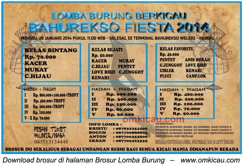 Brosur Lomba Burung Berkicau Bahurekso Fiesta, Kendal, 26 Januari 2014