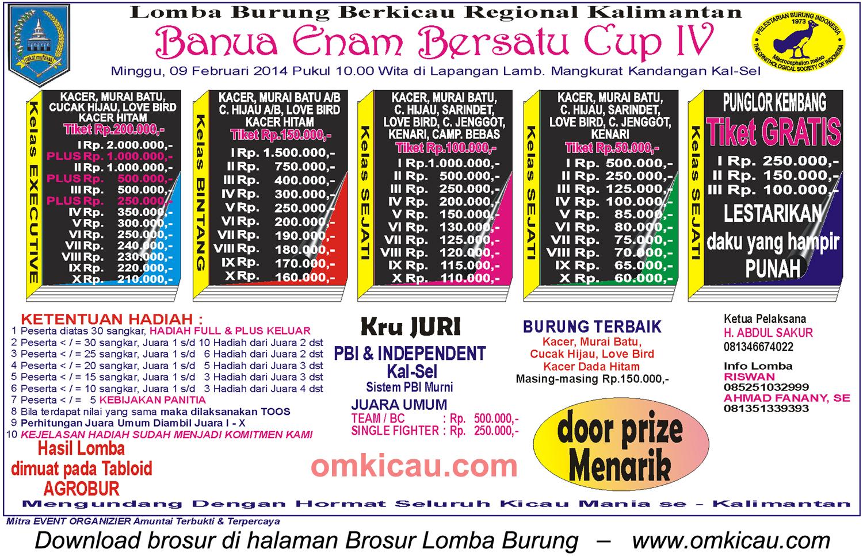 Brosur Lomba Burung Berkicau Banua Enam Bersatu Cup IV, Kandangan, 9 Februari 2014