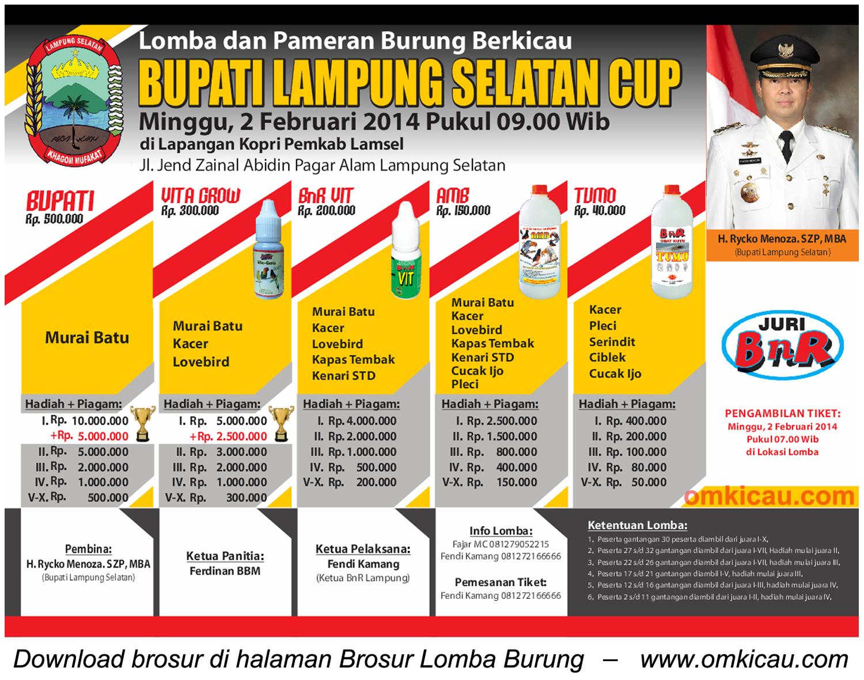 Brosur Lomba Burung Berkicau Bupati Lampung Selatan Cup, 2 Februari 2014