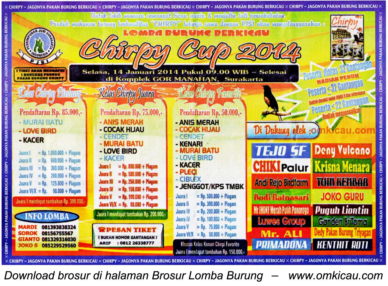 Brosur Lomba Burung Berkicau Chirpy Cup, Solo, 14 Januari 2014