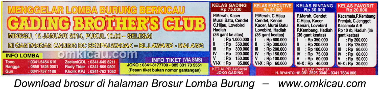Brosur Lomba Burung Berkicau Gading Brothers Club, Malang, 12 Januari 2014