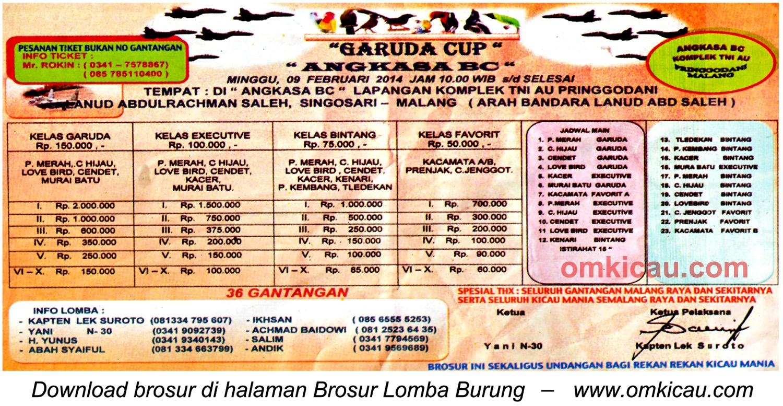 Brosur Lomba Burung Berkicau Garuda Cup, Malang, 9 Februari 2014