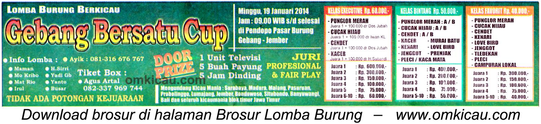 Brosur Lomba Burung Berkicau Gebang Bersatu Cup, Jember, 19 Januari 2014