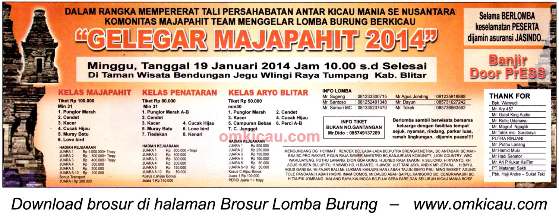 Brosur Lomba Burung Berkicau Gelegar Majapahit, Blitar, 19 Januari 2014