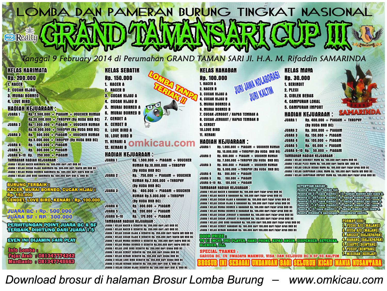 Brosur Lomba Burung Berkicau Grand Tamansari Cup III, Samarinda, 9 Februari 2014