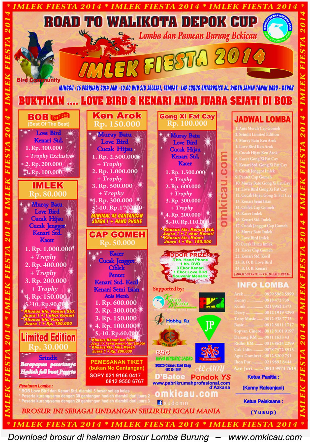 Brosur Lomba Burung Berkicau Imlek Fiesta, Depok, 16 Februari 2014