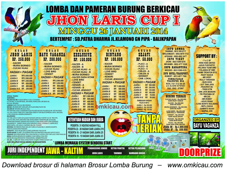Brosur Lomba Burung Berkicau Jhon Laris Cup I, Balikpapan, 26 Januari 2014