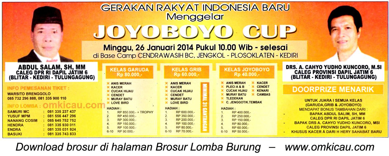 Brosur Lomba Burung Berkicau Joyoboyo Cup, Kediri,, 26 Januari 2014