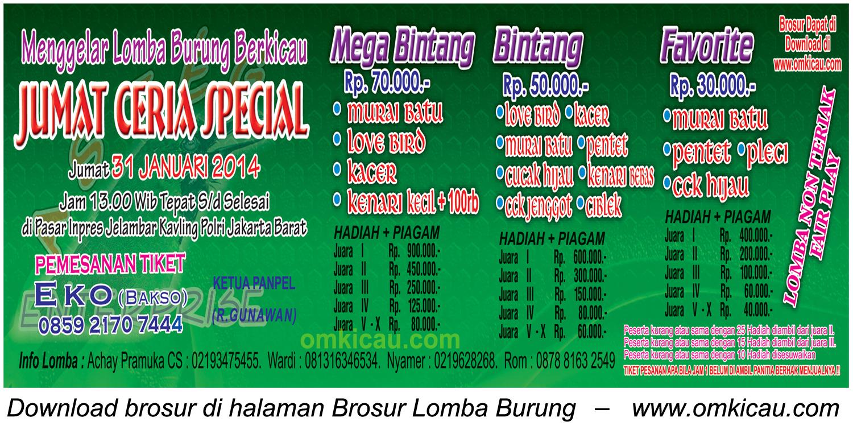 Brosur Lomba Burung Berkicau Jumat Ceria Special, Jakarta Barat, 31 Januari 2014