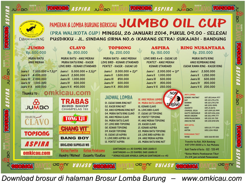 Brosur Lomba Burung Berkicau Jumbo Oil Cup, Bandung, 26 Januari 2014