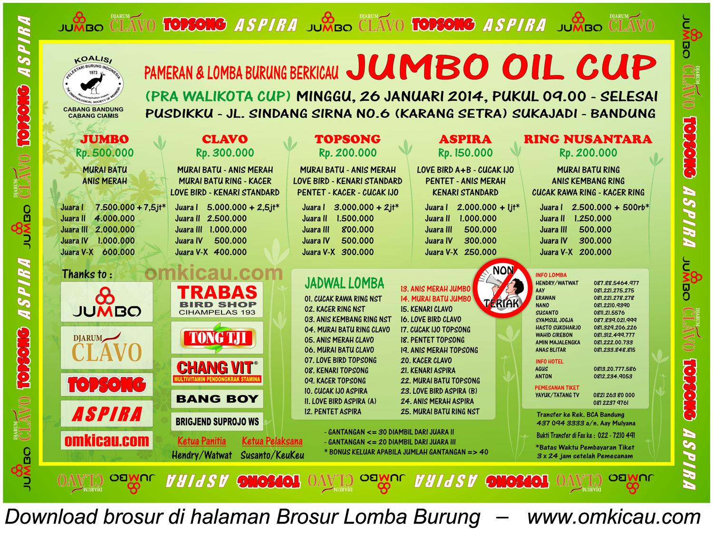 Brosur Jumbo Oil Cup, Bandung, 26 Januari 2014
