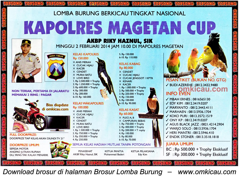 Brosur Lomba Burung Berkicau Kapolres Magetan Cup, Magetan, 2 Februari 2014