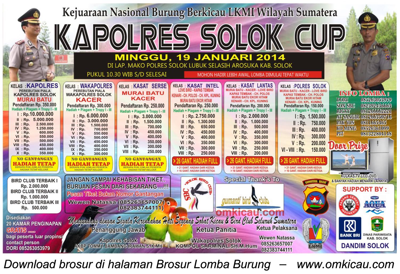 Brosur Lomba Burung Berkicau Kapolres Solok Cup, 19 Januari 2014