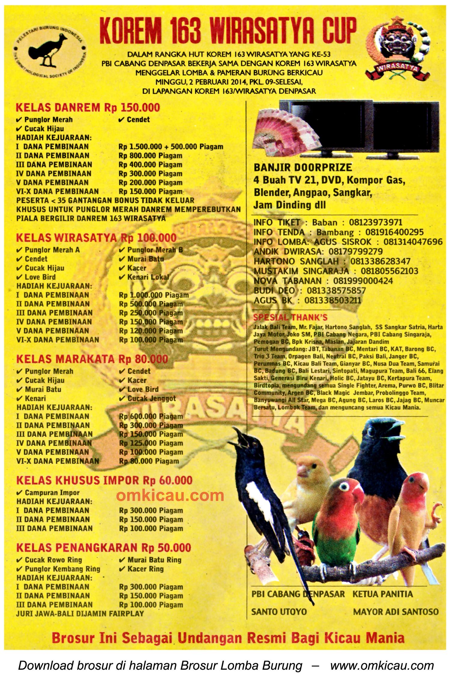 Brosur Lomba Burung Berkicau Korem 163 Wirasatya Cup, Denpasar, 2 Februari 2014