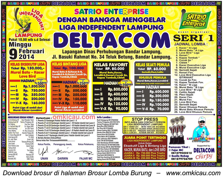 Brosur Lomba Burung Berkicau Liga Independent Lampung, Bandar Lampung, 9 Februari 2014