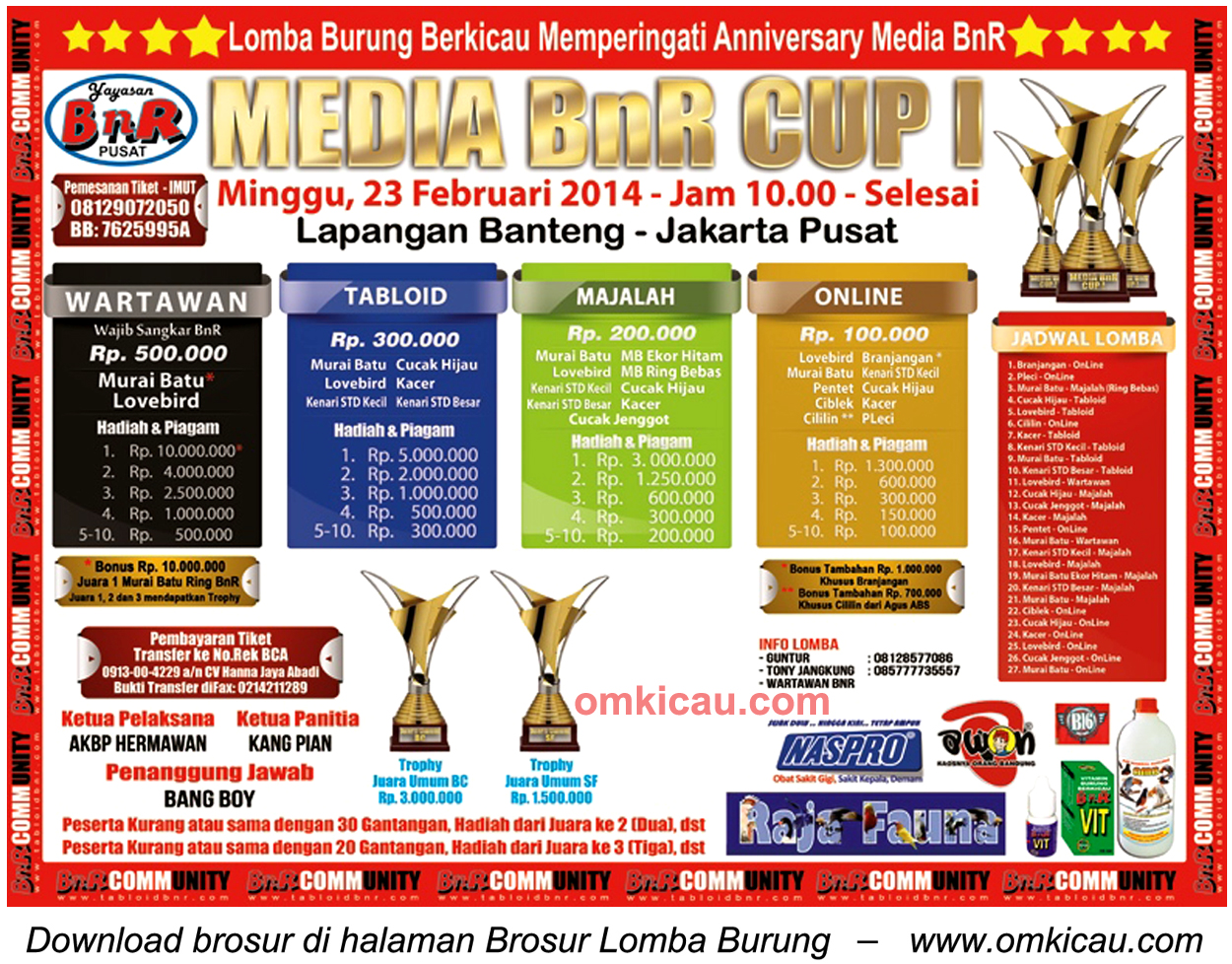 Brosur Lomba Burung Berkicau Media BnR Cup I, Jakarta, 23 Februari 2014