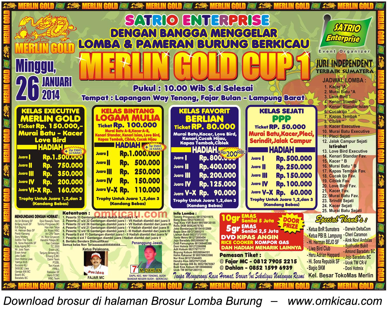 Brosur Lomba Burung Berkicau Merlin Gold Cup 1, Lampung Barat, 26 Januari 2014
