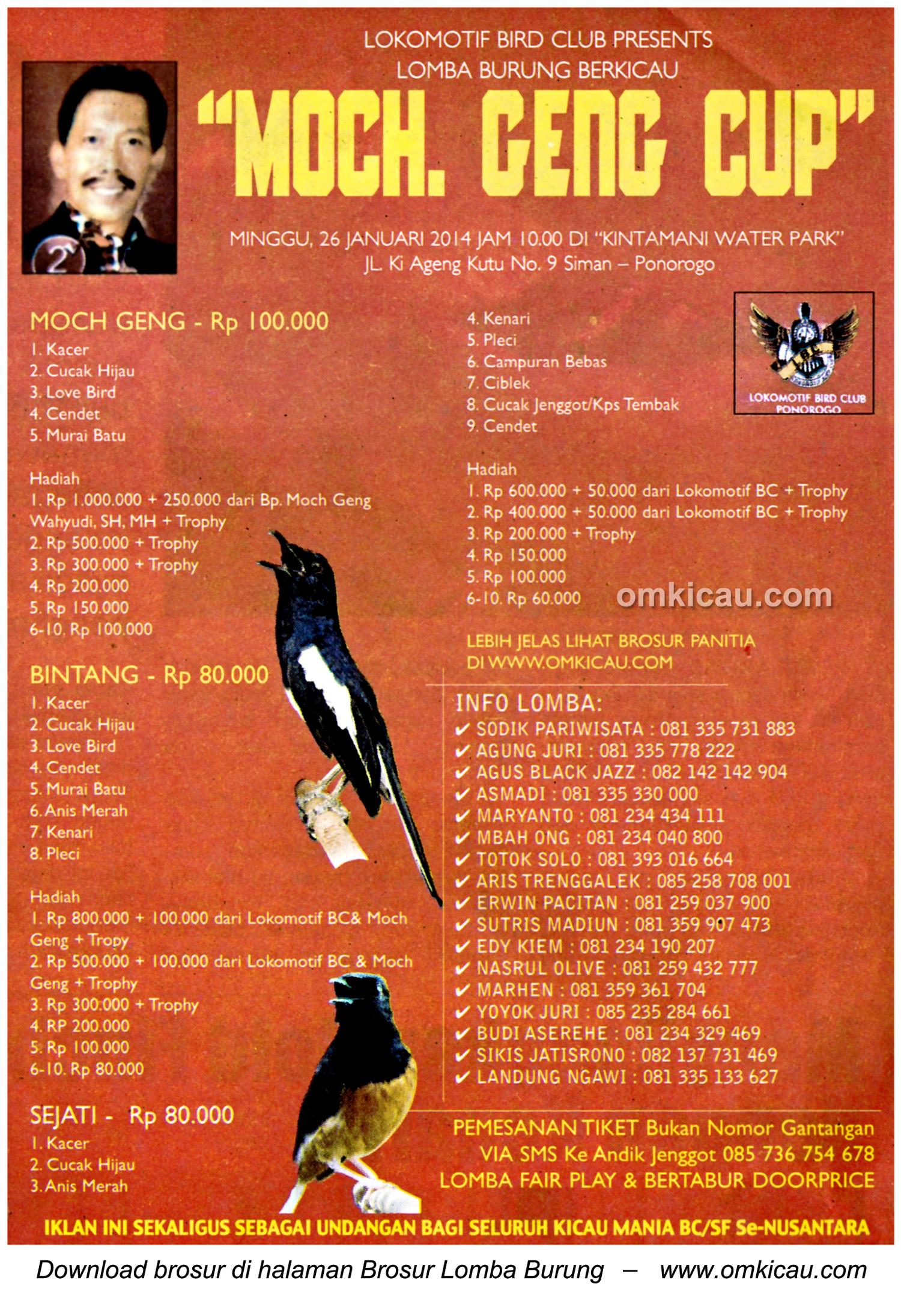Brosur Lomba Burung Berkicau Moch Ceng Cup, Ponorogo, 26 Januari 2014