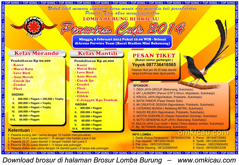 Brosur Lomba Burung Berkicau Perwira Cup Bekonang, Sukoharjo, 9 Februari 2014