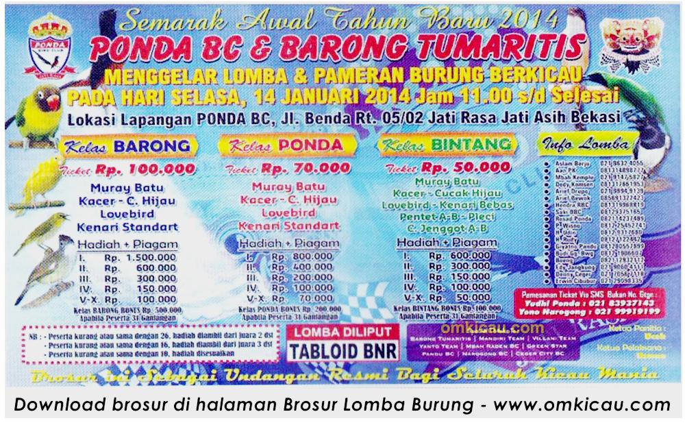 Brosur Lomba Burung Berkicau Ponda BC, Bekasi, 14 Januari 2014