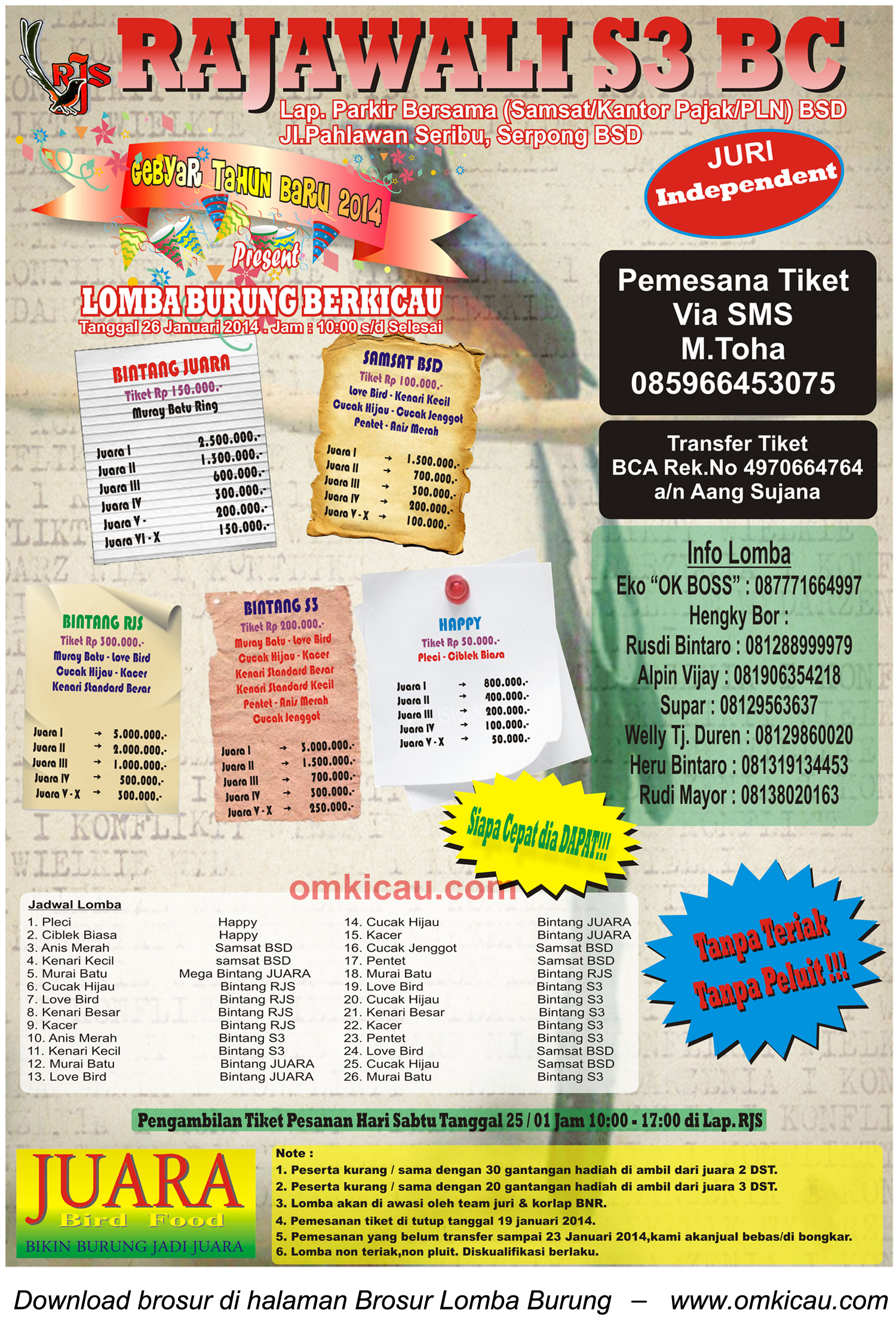 Brosur Lomba Burung Berkicau Rajawali S3 BC, BSD Tangsel, 26 Januari 2014