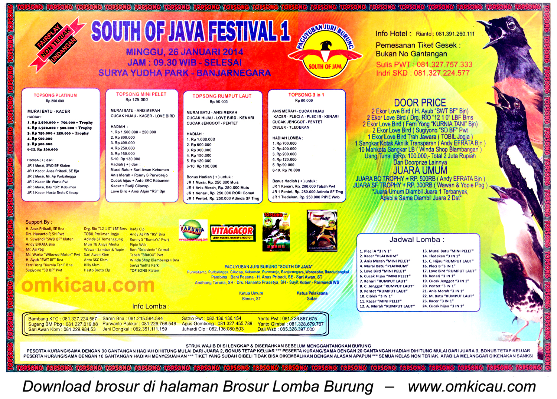 Brosur Lomba Burung Berkicau South of Java Festival 1, Banjarnegara, 26 Januari 2014