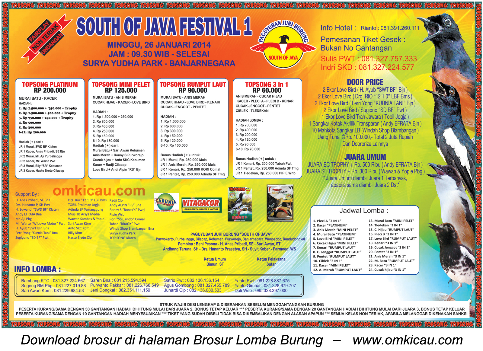 Brosur Lomba Burung Berkicau South of Java Festival 1, Banjarnegara, 26 Januari 2014