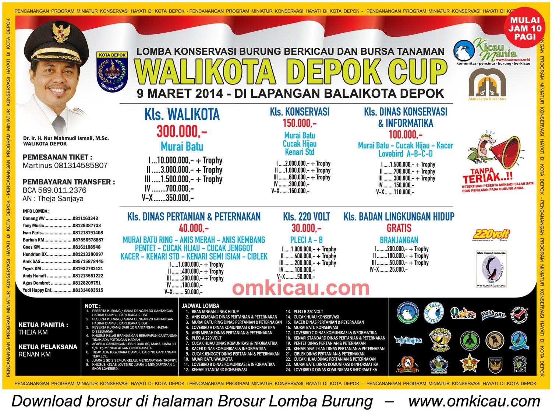 Brosur Lomba Burung Berkicau Wali Kota Depok Cup, Depok, 9 Maret 2014