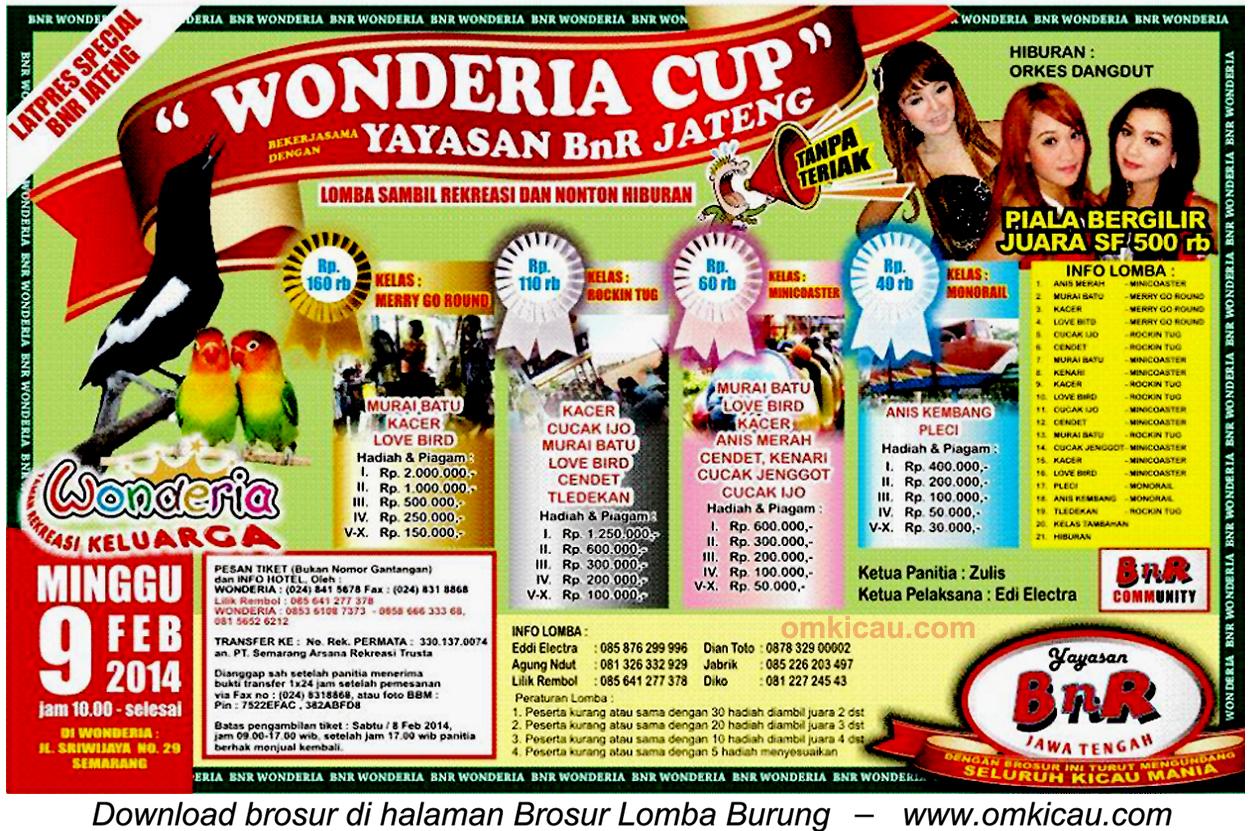 Brosur Lomba Burung Berkicau Wonderia Cup, Semarang, 9 Februari 2014