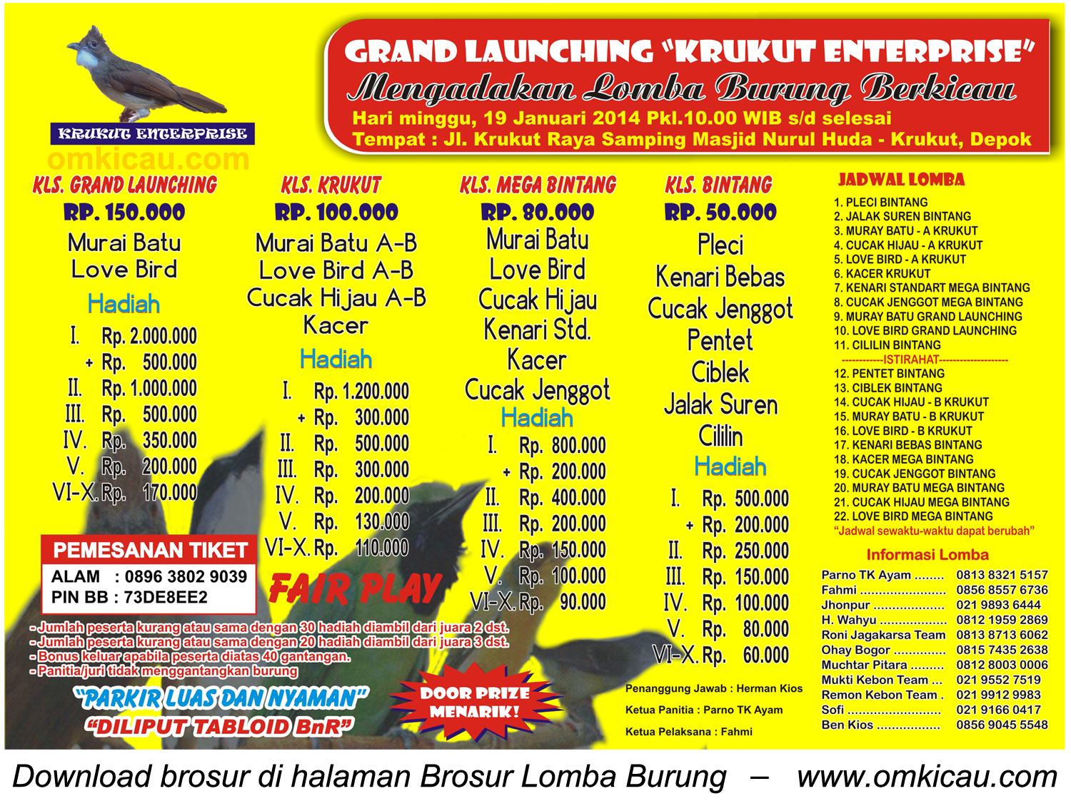 Brosur Lomba Burung Grand Launching Krukut Enterprise, Depok, 19 Januari 2014
