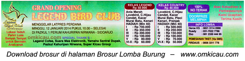 Brosur Lomba Burung Grand Opening Legend BC, Sidoarjo, 12 Januari 2014