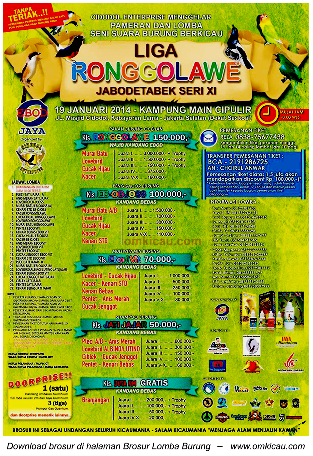 Brosur Lomba Burung Liga Ronggolawe Jabodetabek Seri XI, Jakarta, 19 Januari 2014