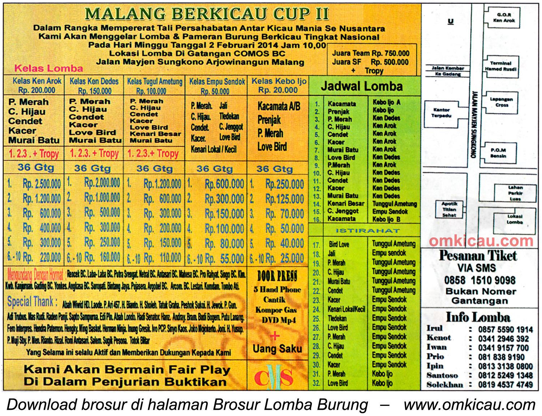 Brosur Lomba Burung Malang Berkicau Cup II, Malang, 2 Februari 2014