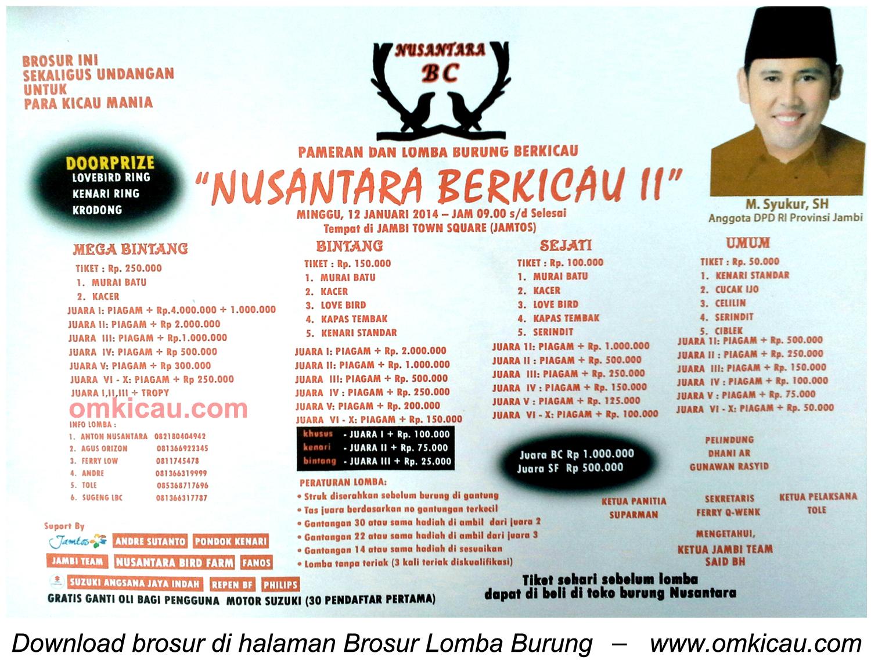 Brosur Lomba Burung Nusantara Berkicau II, Jambi, 12 Januari 2014