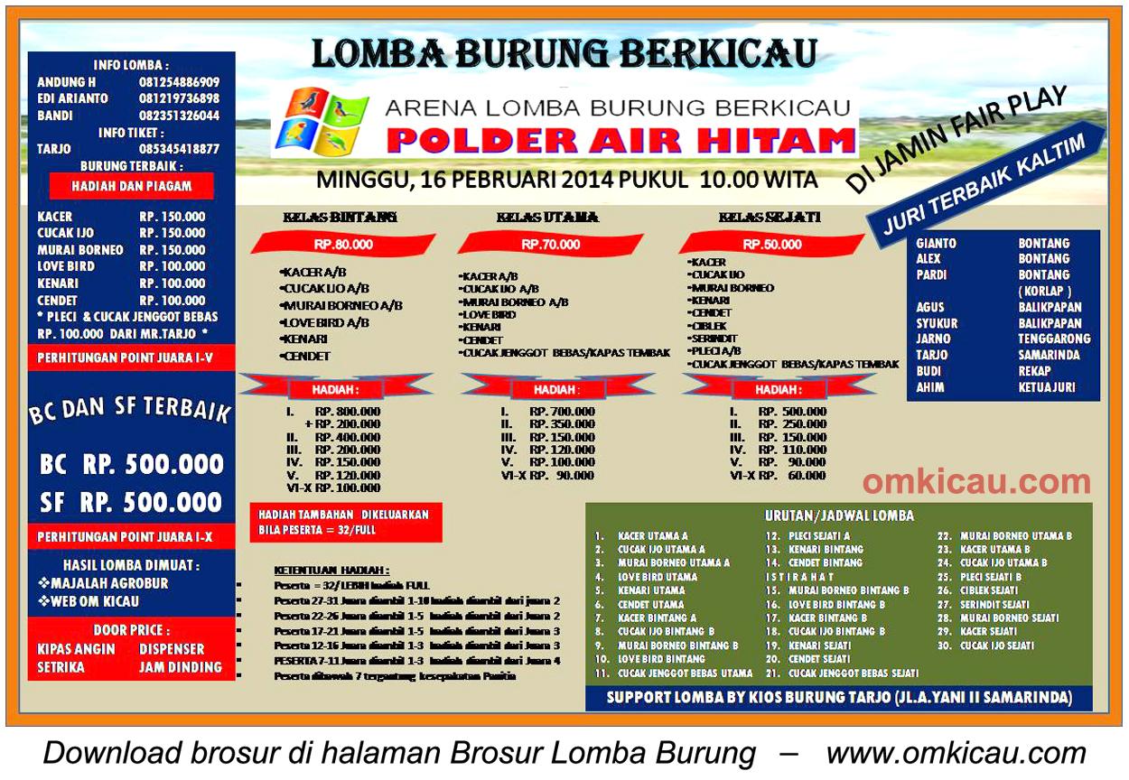 Brosur Lomba Burung Polder Air Hitam, Samarinda, 16 Februari 2014