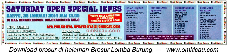 Brosur Lomba Burung Saturday Open Special IKPBS, SOlo, 25 Januari 2014