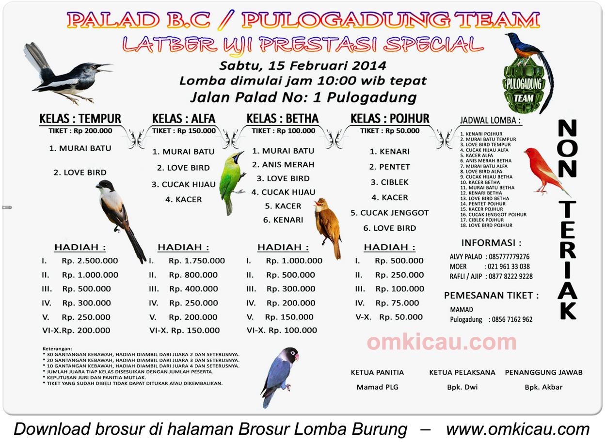 Brosur Latber Palad BC Pulogadung, Jakarta, 15 Februari 2014