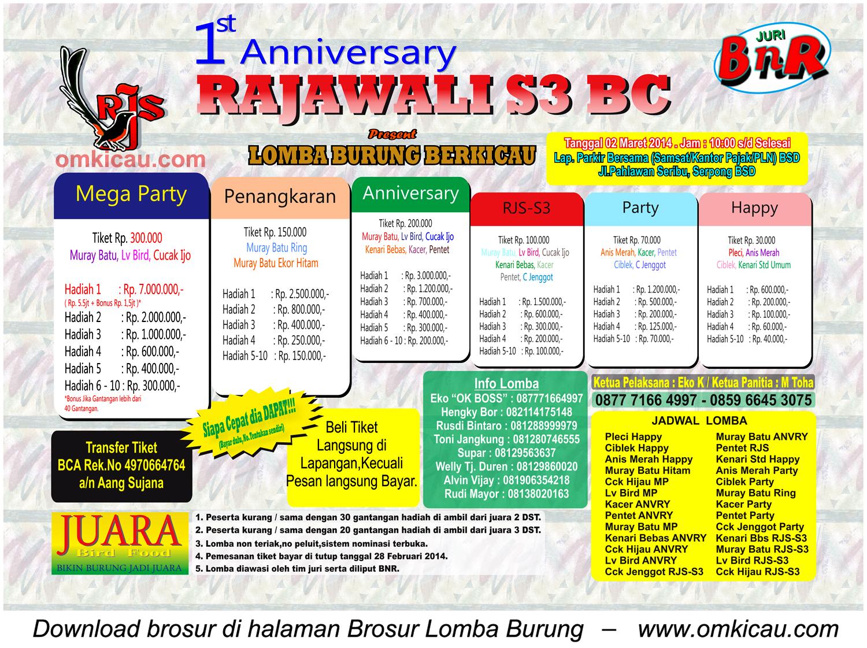 Brosur Lomba Burung 1st Anniversary Rajawali S3 BC, BSD Tangsel, 2 Maret 2014