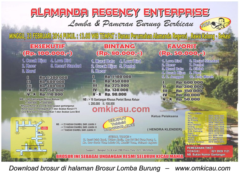 Brosur Lomba Burung Alamanda Regency, Bekasi, 23 Februari 2014