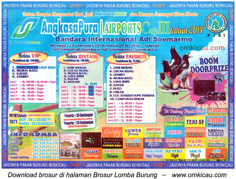Brosur Lomba Burung Angkasa Pura Cup III, Solo, 23 Februari 2014