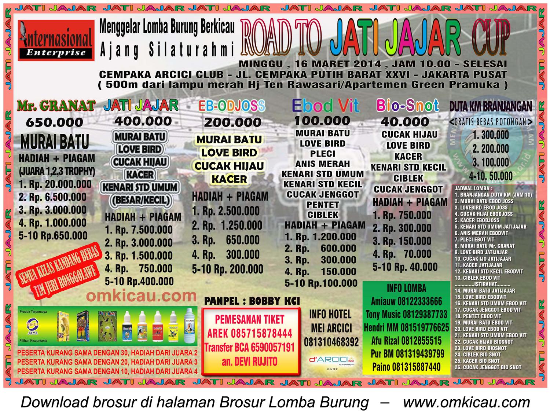 Brosur Lomba Burung Arcici Road to Jatijajar Cup, Jakarta Pusat, 16 Maret 2014