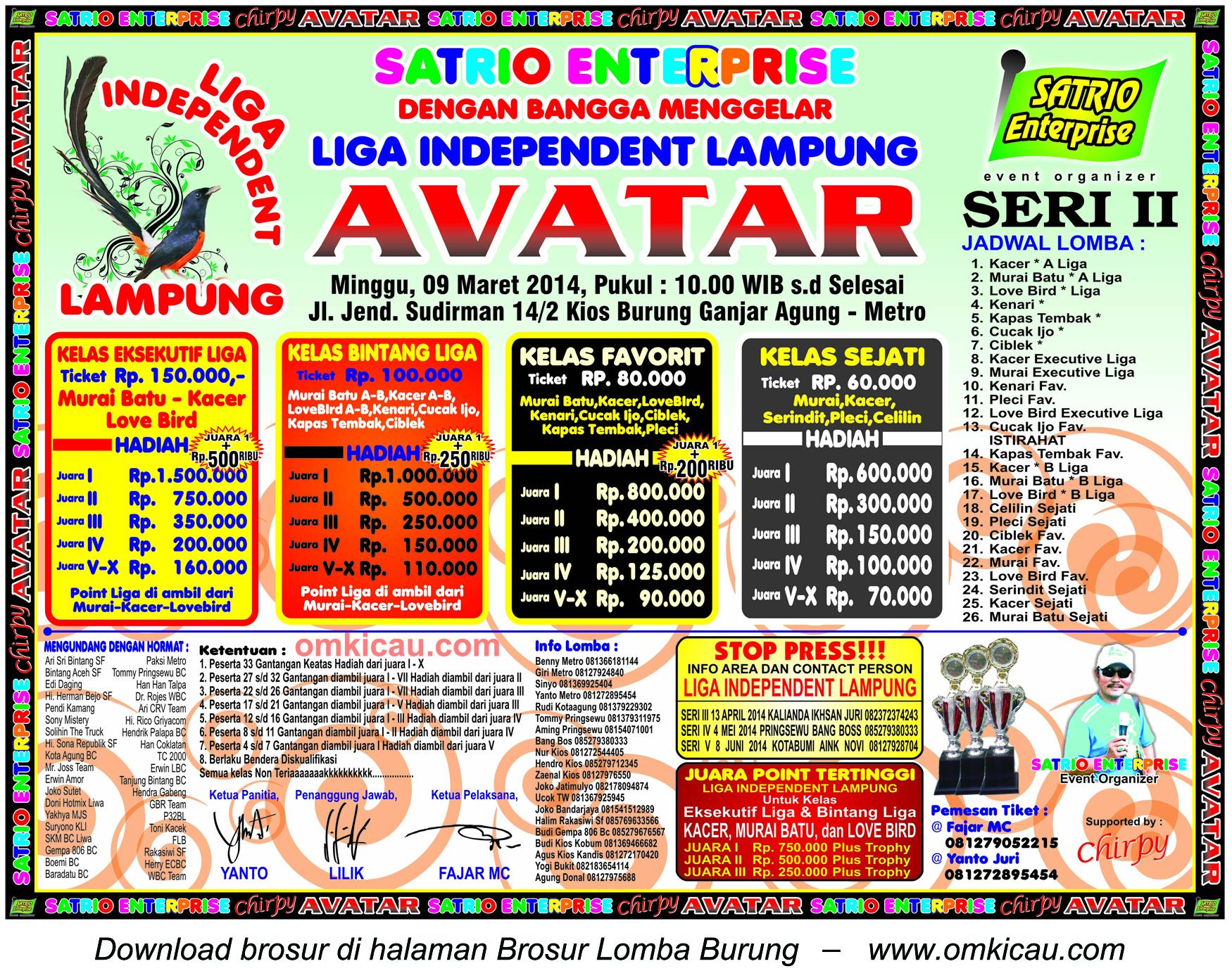 Brosur Lomba Burung Avatar - Liga Independent Lampung Seri II, Metro, 9 Maret 2014